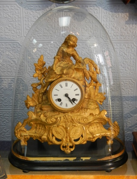 Clocks For Sale French Gilt Spelter Mantel Clock Under Glass